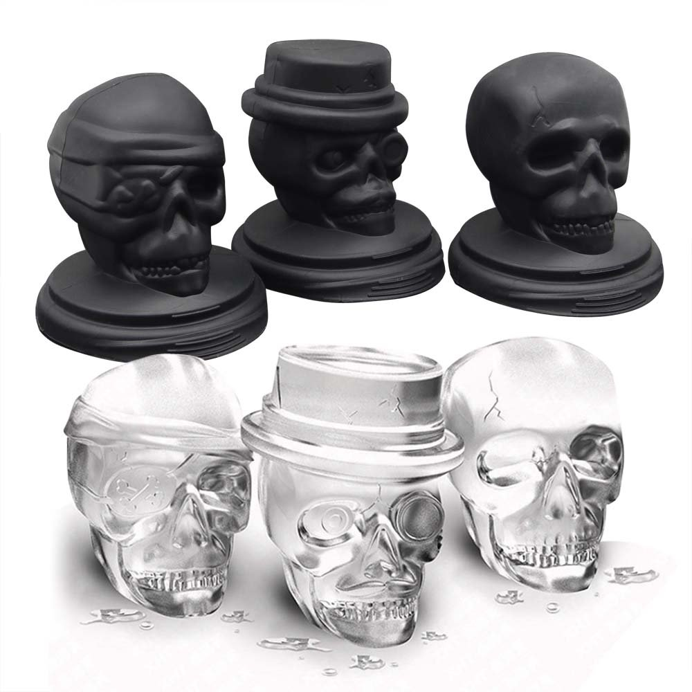 Skull Ice Mold, Smilatte Pop 3D Flexible Large Round Cube Ball Silicone Tray Maker for Whiskey, Holiday Party, Halloween, 3 Pack, Black