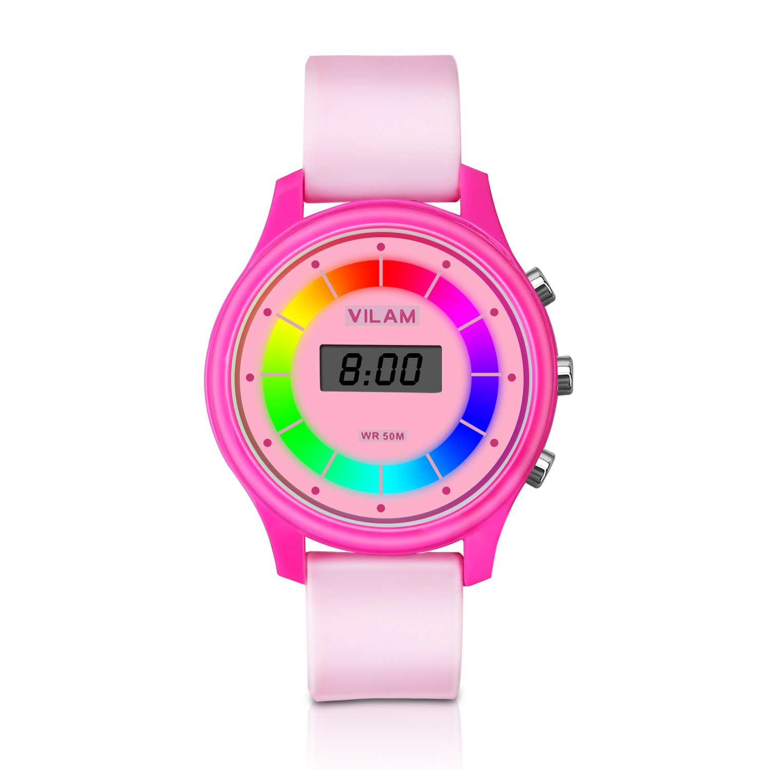 Rainbow Coloured Lights Kids Watch - 7 Colors Flashing 50M Waterproof Children Electronic Watch, Washable Comfortable Watchband Digital Child Wrist Watch for Boys and Girls as Christmas Gift (Pink) by PERSUPER