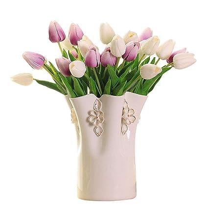 225 & Amazon.com: Lyhuapin White Flower Vase Handmade Modern ...