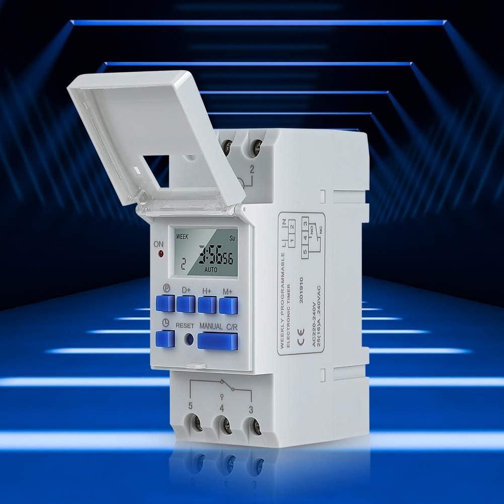 Interruptor de temporizador programable digital de riel DIN Semanal 7 días Pantalla LCD Relé electrónico programable(AC220V)