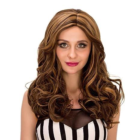 Baisheng Halloween Mujeres Sexy Longitud media Rizado Ola Chica de época Cosplay Pelucas de pelo completo