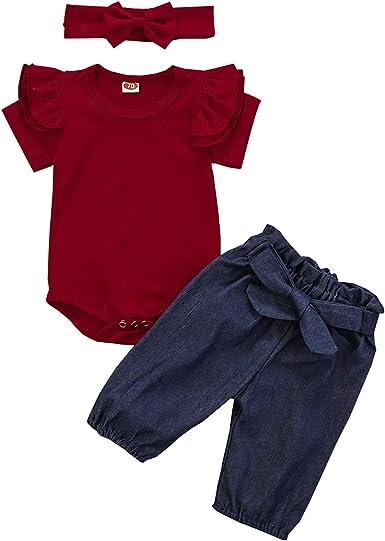 Pants Headband Newborn Infant Baby Girl 3Pcs Outfits Ruffles Romper Clothes