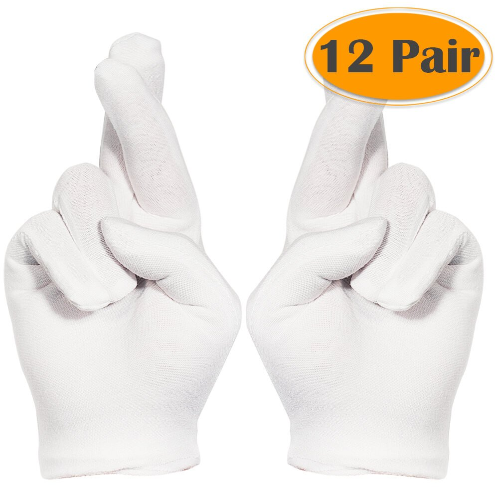 Selizo 12 Pairs White Cotton Gloves for Cosmetic Moisturizing Dry Hands Coin Jewelry Inspection Hand Spa – Large Size