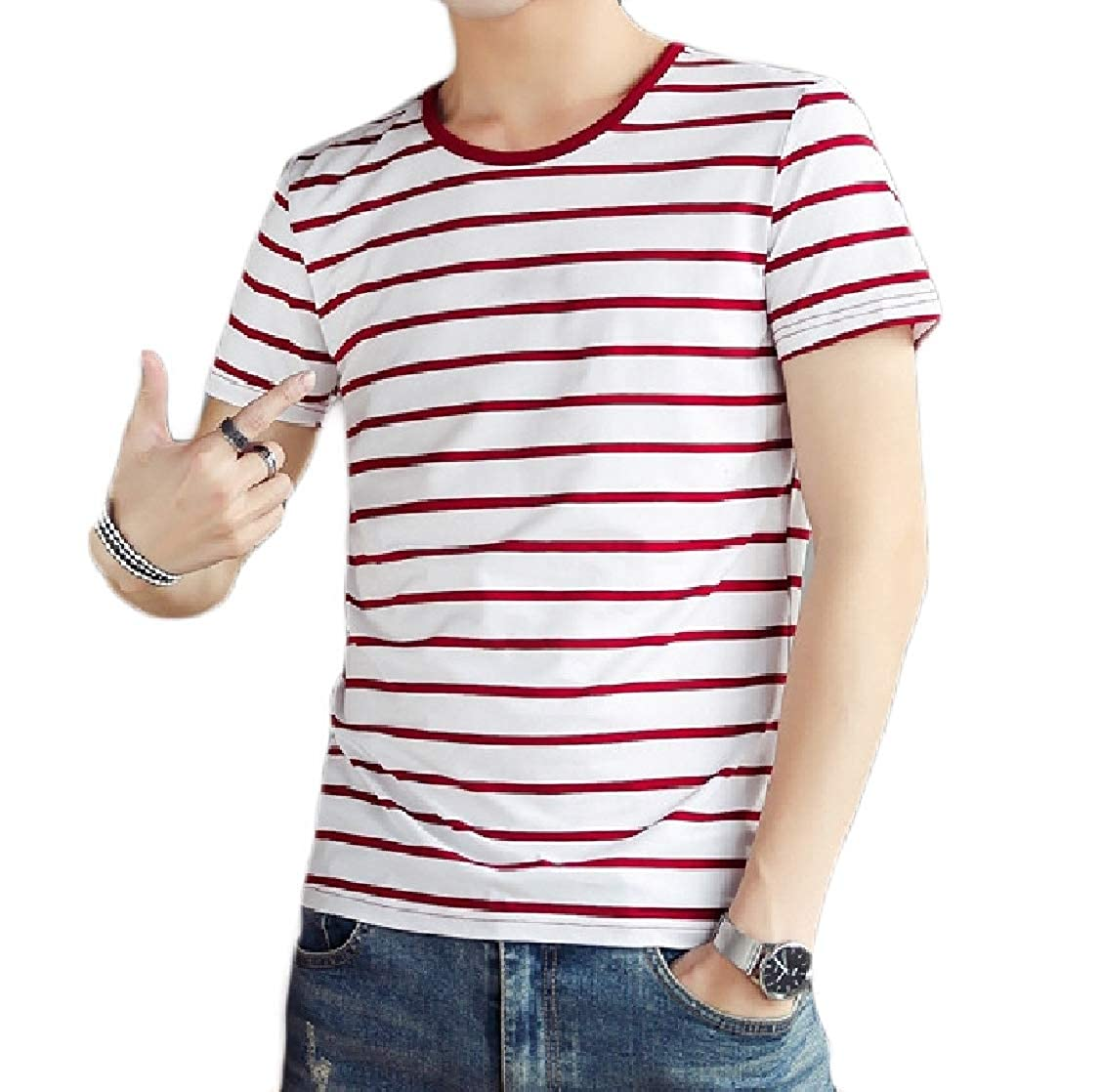 Fieer Mens Short-Sleeve Striped Plus Size Modal Cotton Pullover Tshirt Top