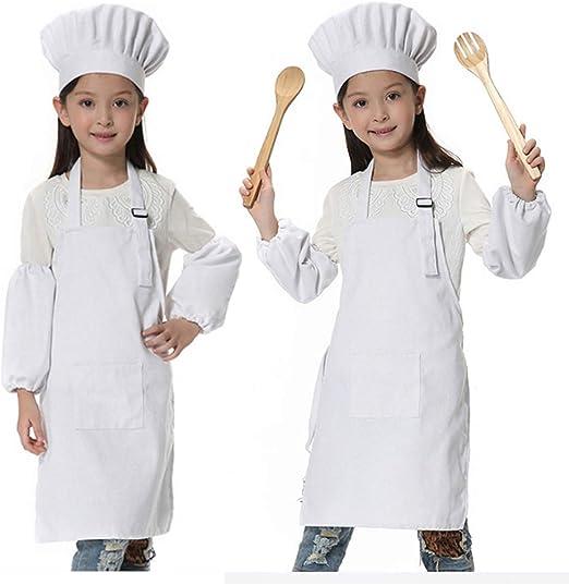 JLySHOP - Traje de chef para niños, conjunto de delantal, gorro y ...