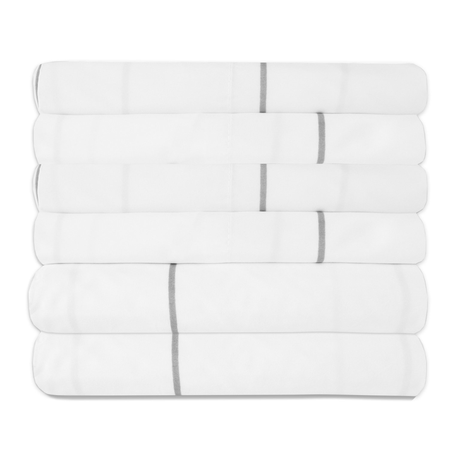 Sweet Home Collection Quality Deep Pocket Bed Sheet Set 2 Extra Pillow Cases, Great Value, Twin, Window Pane White, 4 Piece