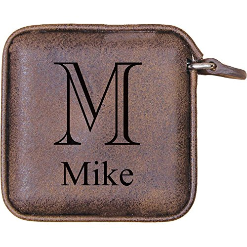 (Faux Leather Retractable Tape Measure for Sewing and Body Measurement, Distressed Saddle Brown, Personalized, Initial and Name Included)