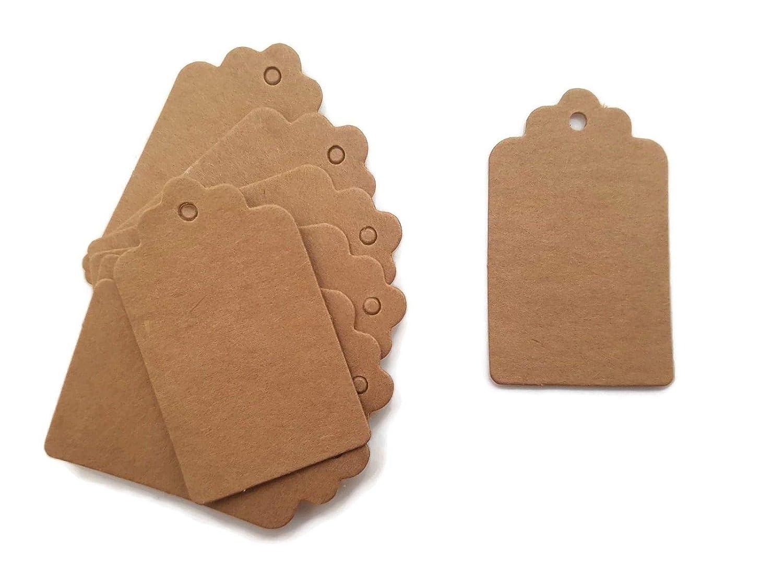 Mini 100pc 5* 3CM Scallop Kraft carta Etichetta regalo Etichetta prezzo per carte di nome di tag per festa di nozze Wilotick