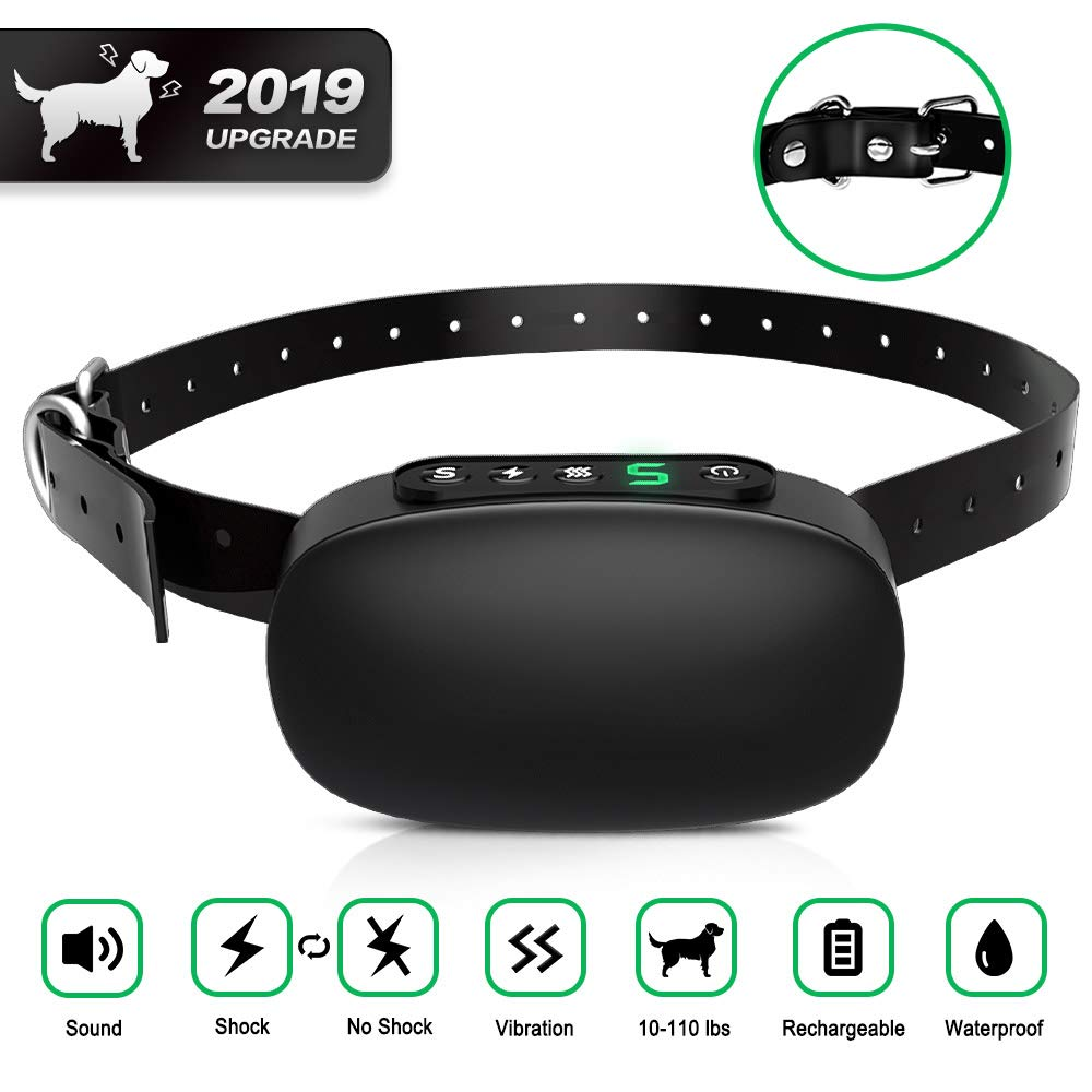 AERZETIX Dog Bark Collar, Rechargeable Anti Barking Shock Collar for Small Medium Large Dogs, Adjustable Training Collar Rainproof Beep Vibration Device – No Harm Control Collar Newest 2019
