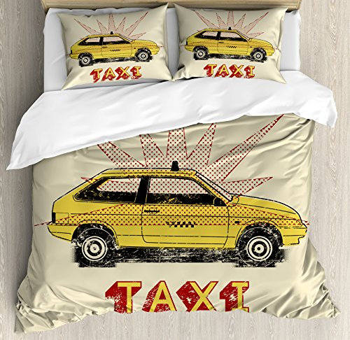 Retro Queen Size Duvet Cover Set by Ambesonne, Pop Art Style Old Fashioned Taxi Cab with Grunge Effects Vintage Car Graphic, Decorative 3 Piece Bedding Set with 2 Pillow Shams, Beige Yellow Ruby