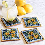 Peaches Hand Painted Tile Coasters (Set of 4)