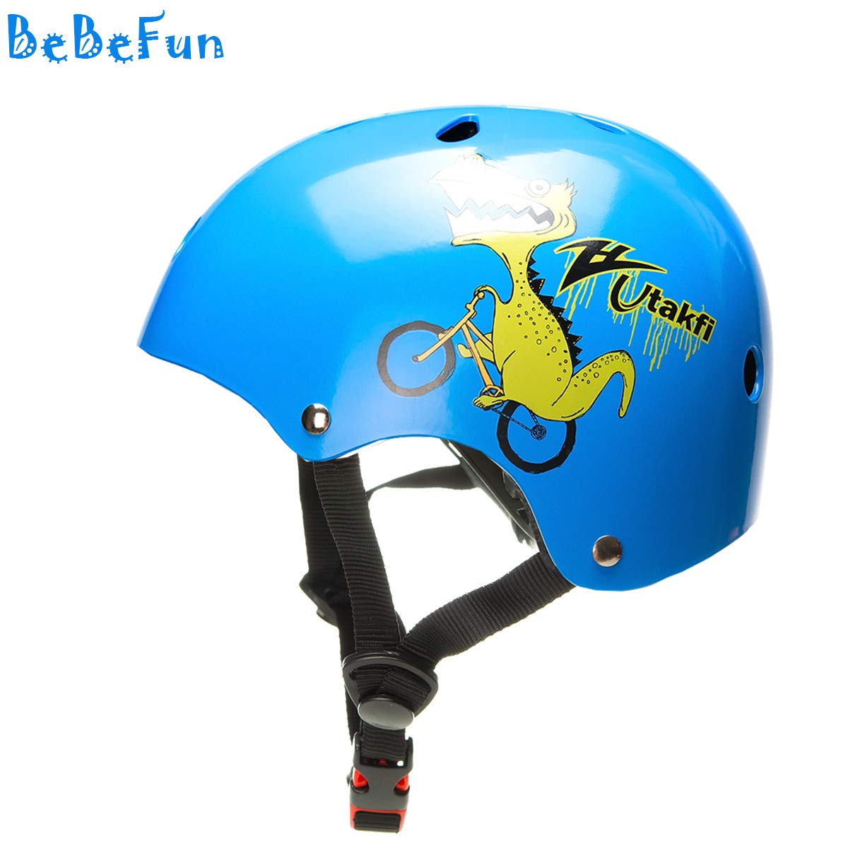 BeBeFun幼児と子供の自転車とスクーターとスケートのヘルメットNo 1選択(海軍恐竜、2-7年)   B01MZAQ4AT