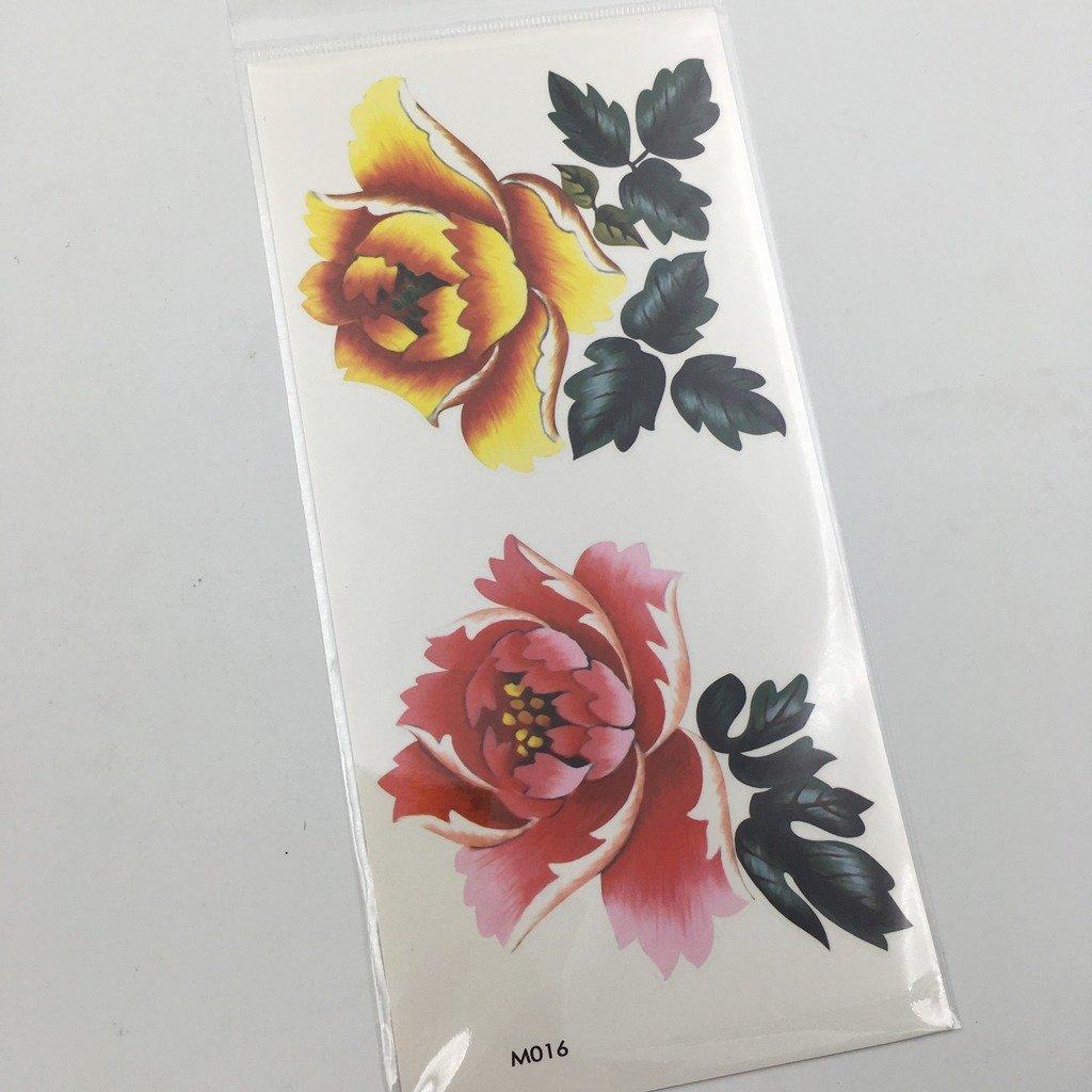 ead2e284e697c Amazon.com : Oottati Assorted Temporary Tattoo Scenery Pink Peony (2  Sheets) : Beauty