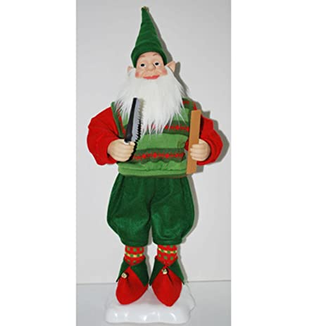 27 animated santas elf holding saw and ruler christmas figure - Animated Christmas Elves Decorations