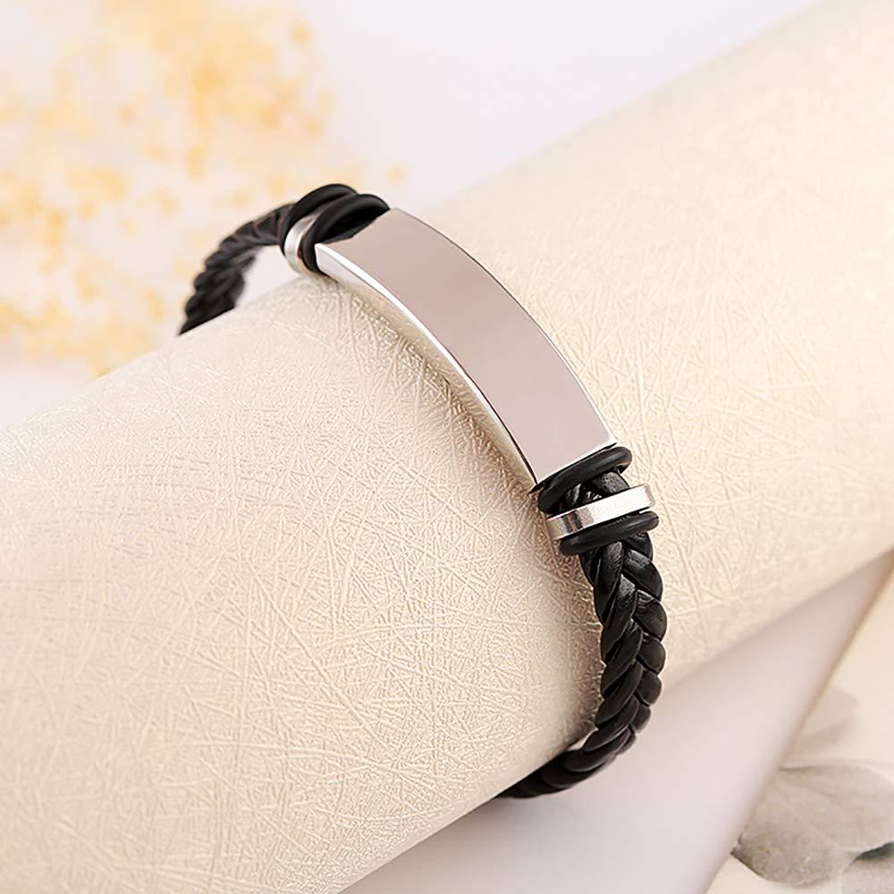 Gleamart Cuir dargent en Acier Inoxydable Bracelet Tress/é Bracelet Manchette pour Hommes