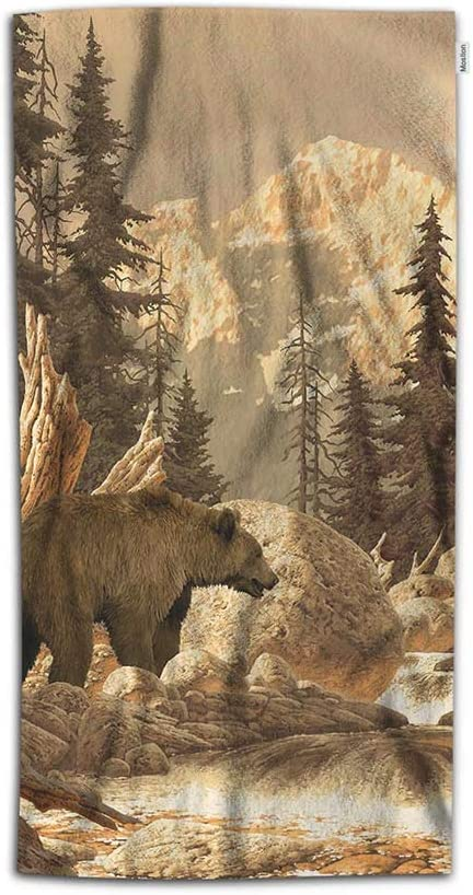 Moslion Grizzly Bear Hand Towels 30Lx15W Inch Animal Wilderness Brook Canyon Forest Mountain Nature Yellowstone Hand Towels Kitchen Hand Towels for Bathroom Soft Polyester-Microfiber