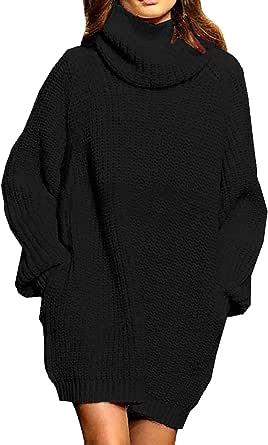 Viottiset Mujer Vestido De Suéter De Punto Navideño para Suéter De Manga Larga Y Cuello Alto para