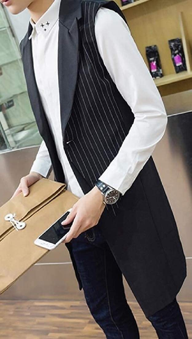 Fubotevic Mens Striped Sleeveless Lapel Collar One Button Mid Length Dress Vest