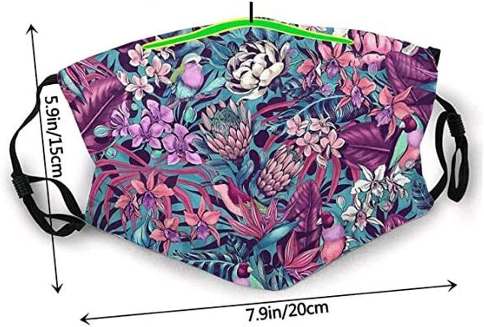 Callm 1 pcs Cotton Bandana Scarf 6 pcs Filter Dust-Proof Reusable and Washable Floral Mouth Face for Women