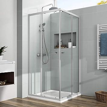 Cabina de ducha esquina. Mampara Nano Puerta Corredera de Cristal ...