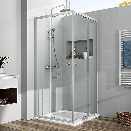 EMKE cabina de ducha para esquina, mampara de ducha, puerta corredera de cristal con plato de ducha, 185cm, 90 x 90 cm: Amazon.es: Hogar