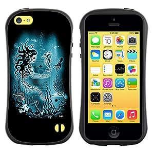 Be-Star Impreso Colorido Diseño Antichoque Caso Del Iface Primera Clase Tpu Carcasa Funda Case Cubierta Par Apple iPhone 5C ( mermaid skull skeleton seahorse )