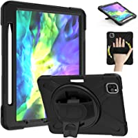 "ZenRich iPad Pro 11"" Case 2020/2018 with Pencil Holder, 360 Rotating Hand Strap,Rugged Shockproof Silicone case with Kickstand"