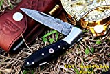 Cheap DKC Knives Sale (17 5/18) DKC-58 Little Jay Series Knives Damascus Folding Pocket Knife 4″ Folded 7″ Long 4.7oz oz High Class Looks Hand Made LJ-Series (Black Buffalo Horn Damascus Steel)