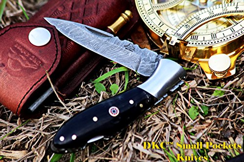 DKC-58-LJ-BH-LITTLE-JAY-Damascus-Folding-Pocket-Knife-Buffalo-Horn-Handle-4-Folded-7-Long-47oz-oz-High-Class-Looks-Incredible-Feels-Great-In-Your-Hand-And-Pocket-Hand-Made-DKC-Knives-LJ-Series