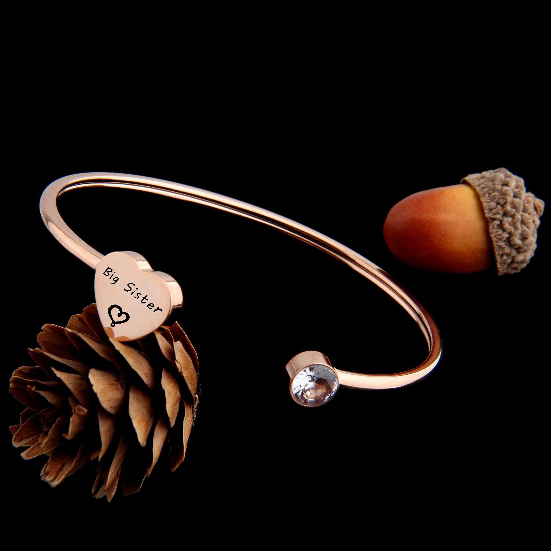 PLITI Big Sis Little Sis Gifts Sister Bracelets for 2 Friendship Bracelets