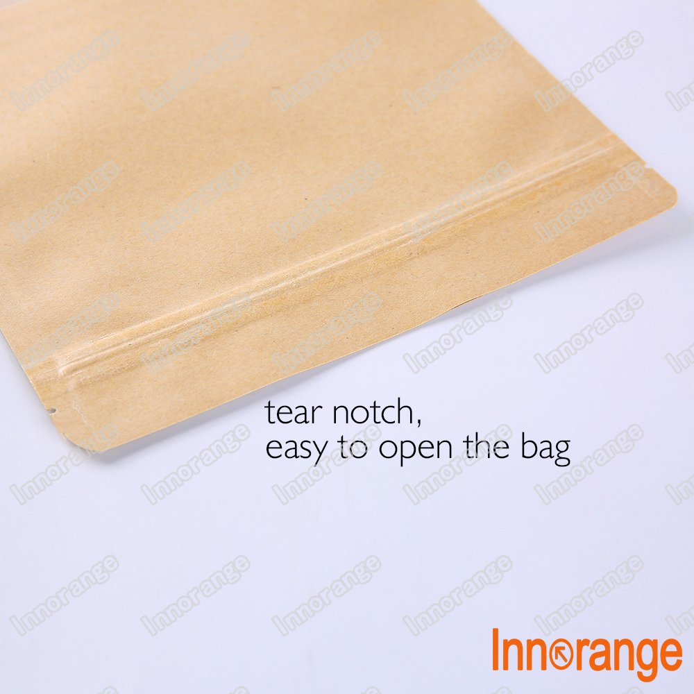 4.7/×7.8 inches//12/×20cm Innorange Kraft Paper Zipper Lock Stand Up Bags Sealable Matte Window,Pack of 100