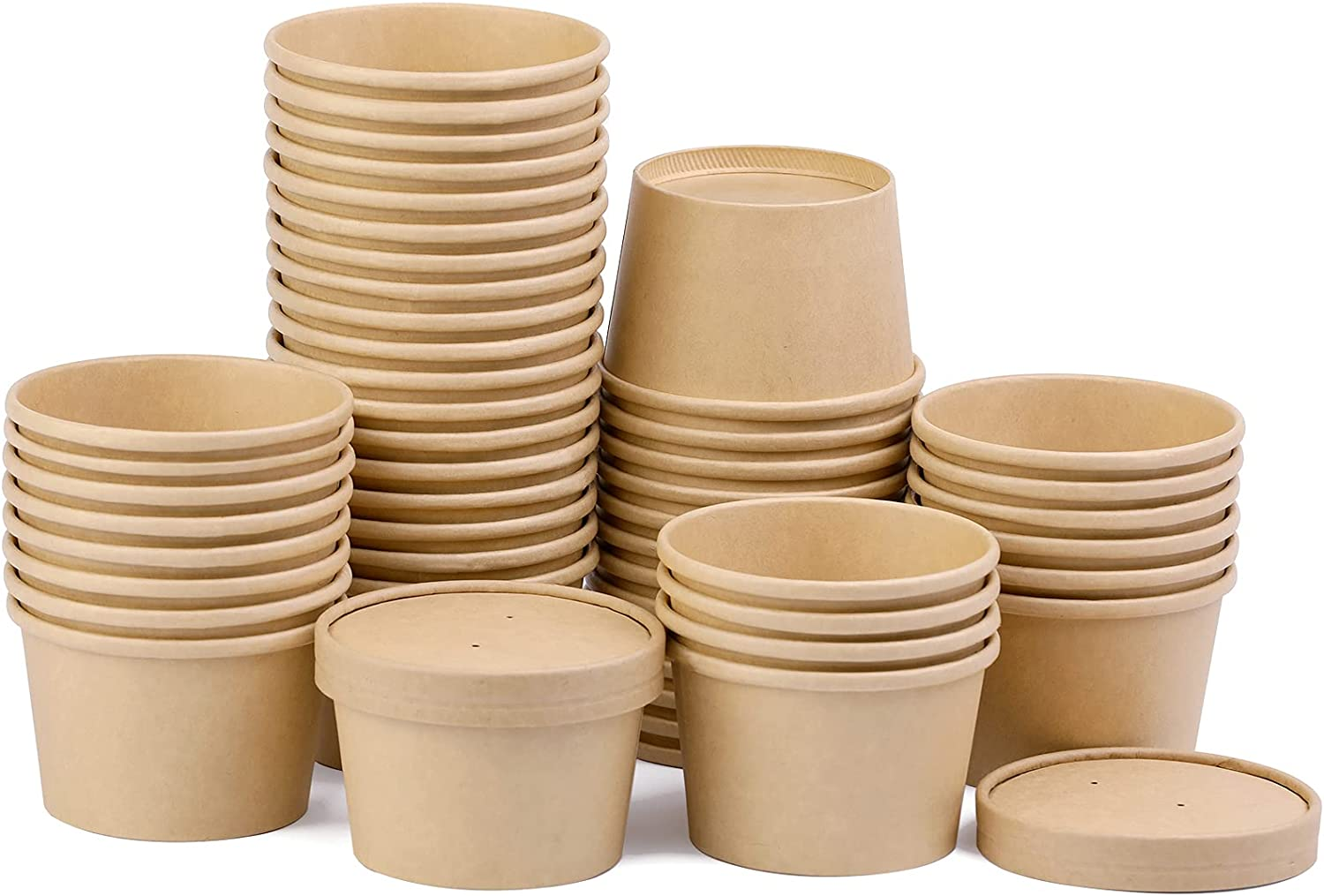 50 Packs 8oz Disposable Kraft Paper Cups Container, Kraft Paper Food Cup With Lids, Paper Soup Containers for Frozen Yogurt, Chili, Dessert, Ice Cream, To Go for Restaurants, Delis, and Cafes