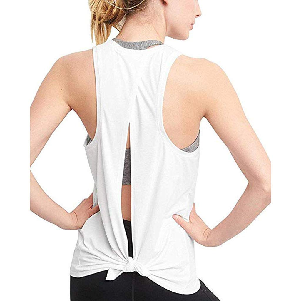 Women Vest Sexy Open Back Sport Solid Yoga Shirts Tie Workout Racerback Tank Tops White