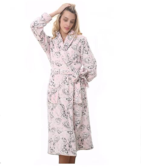 af61dba524 Leeh s Women Bathrobe Nightgown Pink Flannel Floral Long Home Wear for  Winter and Autumn (S