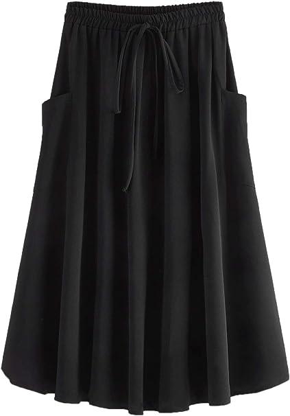Shein Falda Plisada con Cintura elástica y cordón en A, para Mujer ...