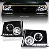 ACANII - For 1997-2000 Toyota Tacoma Pickup Truck LED Halo Ring Black Housing Projector Headlights Headlamps Left+Right