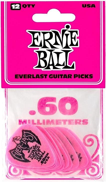 Ernie Ball PO9179 Pink Everlast .60MM Guitar Picks 12-Pack Delrin 9179
