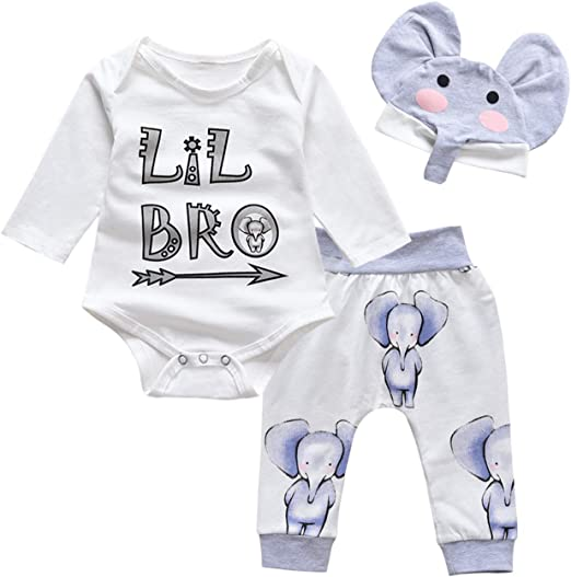 3pcs Newborn Kids Baby Boy Coming Home Clothes Romper Bodysuit Pants Outfits Set