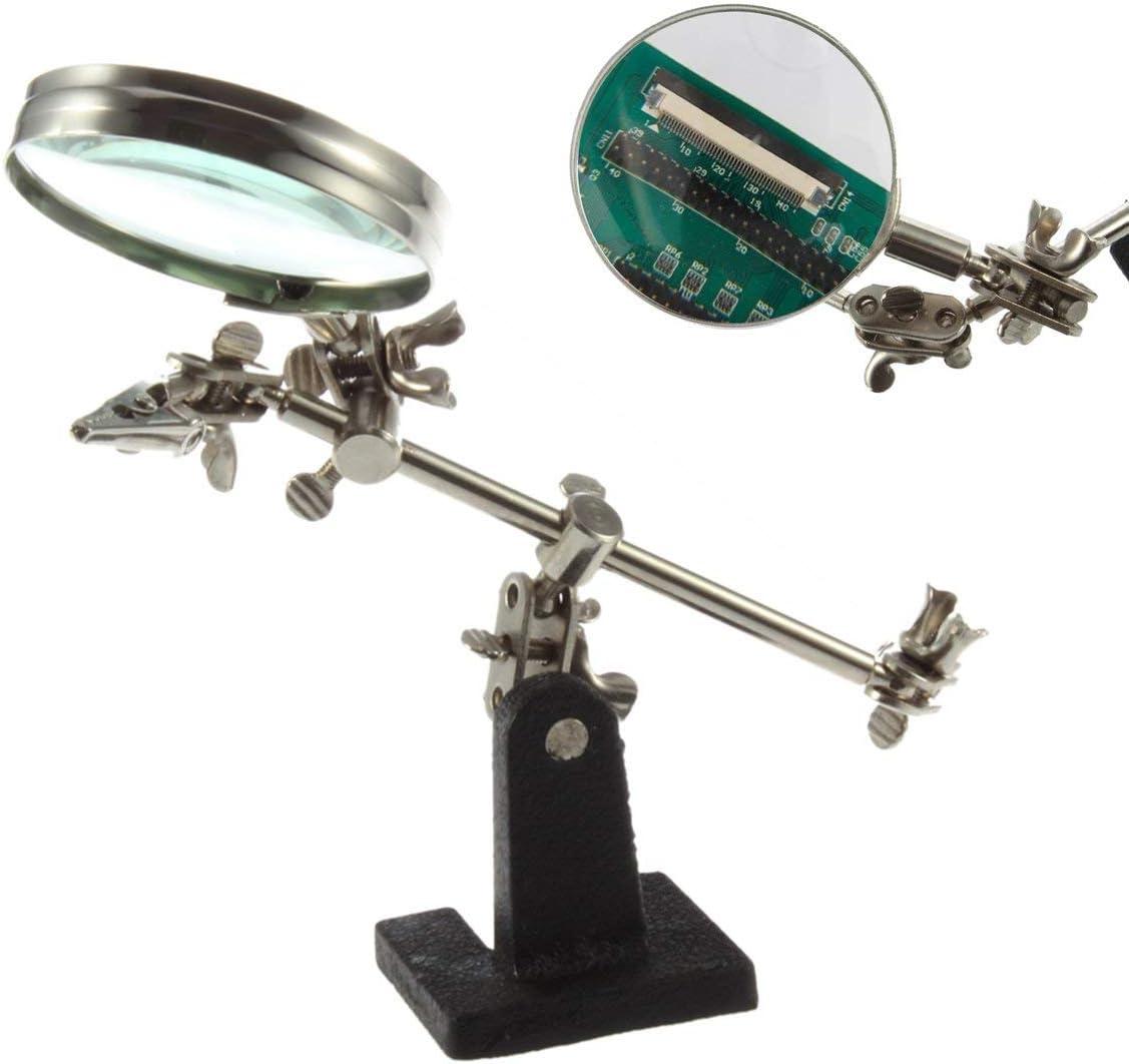 Dritte Hand L/ötkolben stehen helfende Vergr/ö/ßerungsgl/äser Clip-Tool Desktop-Lupe Schmuck Reparatur Vergr/ö/ßerungsglas Appliance Silber