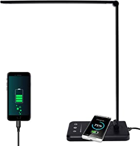 LED Desk Lamp with Wireless Charger, USB Charging Port Dimmable Aluminum Table Light, 5 Lighting Modes with 5 Brightness Levels, Touch Control and 30/60min Auto Timer, Office lamp with 5V/2A Adapter