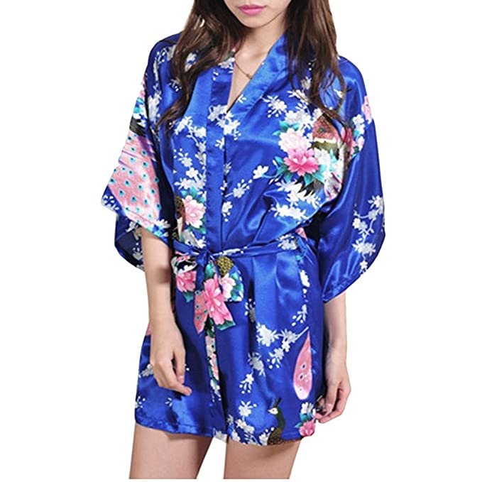 Gifts Are Blue Womens Short Floral Silk Kimono Robe 332aaf043
