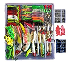 Christmas gift for fishing enthusiastsSmartonly 275pcs Fishing Lure Set Including Frog Lures Soft Fishing Lure Hard Metal Lure VIB Rattle Crank Popper Minnow Pencil Metal Jig Hook for Trout Bass Salmon with Free Tackle Box  Fearture Material:...
