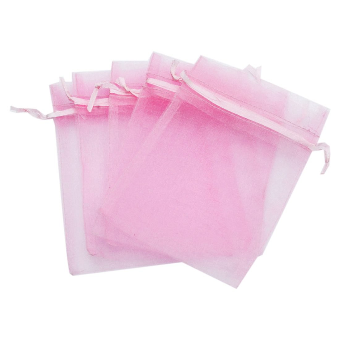 TOOGOO Organza Wedding Party Favor Gift Candy Sheer Bags Jewelry Pouch, 50 pcs 4inch x 6inch (10x15cm) Pink