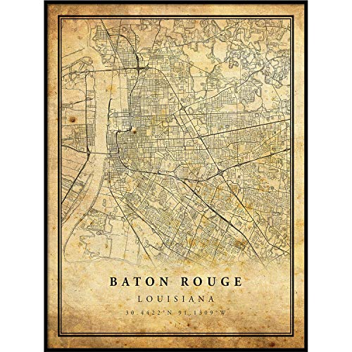 Baton Rouge map Vintage Style Poster Print | Old City Artwork Prints | Antique Style Home Decor | Louisiana Wall Art Gift | map Prints 18x24
