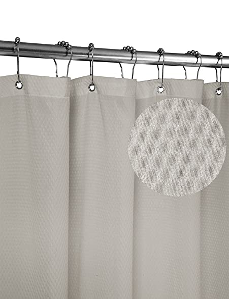 Home Queen Waffle Weave Mold Resistant Shower Curtain,Anti Mildew Heavy  Duty Liner,