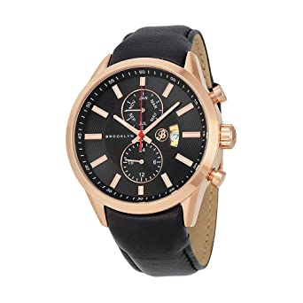 Brooklyn Watch Co. Fulton Black Dial Black Leather Swiss Quartz Mens Watch FL-RG