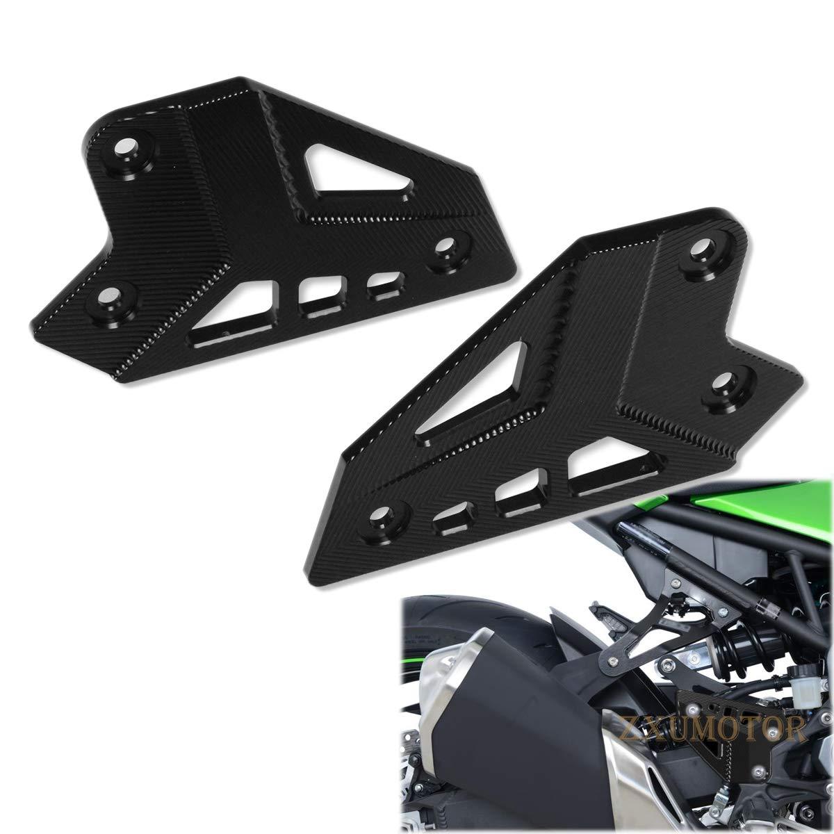 ZAIXU Motorcycle Accessories CNC Aluminum Footrest Foot Peg Heel Plates Protection Frame Guard Protector For Kawasaki Z900 2017 Blue