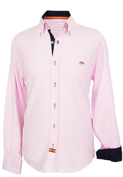 Pi2010 Camisa Bandera de España Hombre Rosa con Marino, Fabricado en España Talla M
