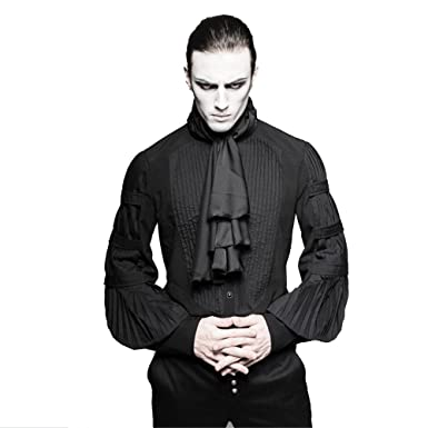 1da72df6e5c6f9 Gothic Steampunk Men Ruffle Blouses Costume Black Silk Ties Big Balloon  Shirts Blouses (S)