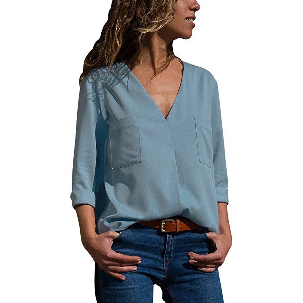 Blouses For Womens,HOT SALE!!Farjing Womens Autumn Casual Long Sleeve Solid V Neck Pockets Shirts Tops Blouse(US:10/XL,Blue)